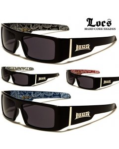 Locs Sunglasses - Square Wrap Around Frame - Bandanna Print UV400
